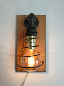 Industrial Pipe Wall Lamp with Edison Bulb and Mattress Spring