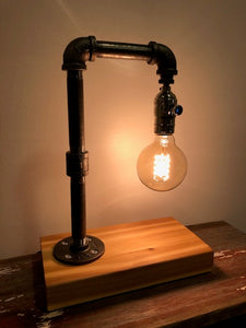Industrial Pipe Lamp with 25 Watt Edison Bulb