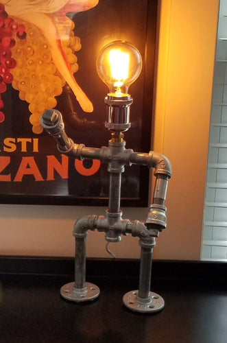Mr. Roboto - Industrial Pipe Lamp Robot with Edison Bulb