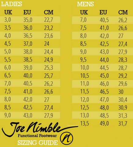 joe nimble sko storlek guide i eu uk cm