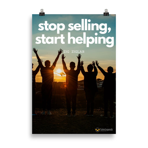 "Poster ""Stop selling, start helping"" - salesstyle"