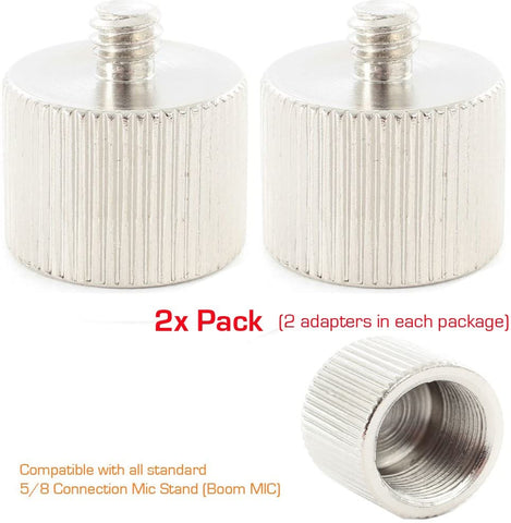 "(2 PACK) Mic Microphone Stand 5/8""-27 Female to 1/4""-20 Male thread Camera/Tripod Screw Stud Adapter - PicBox Company"