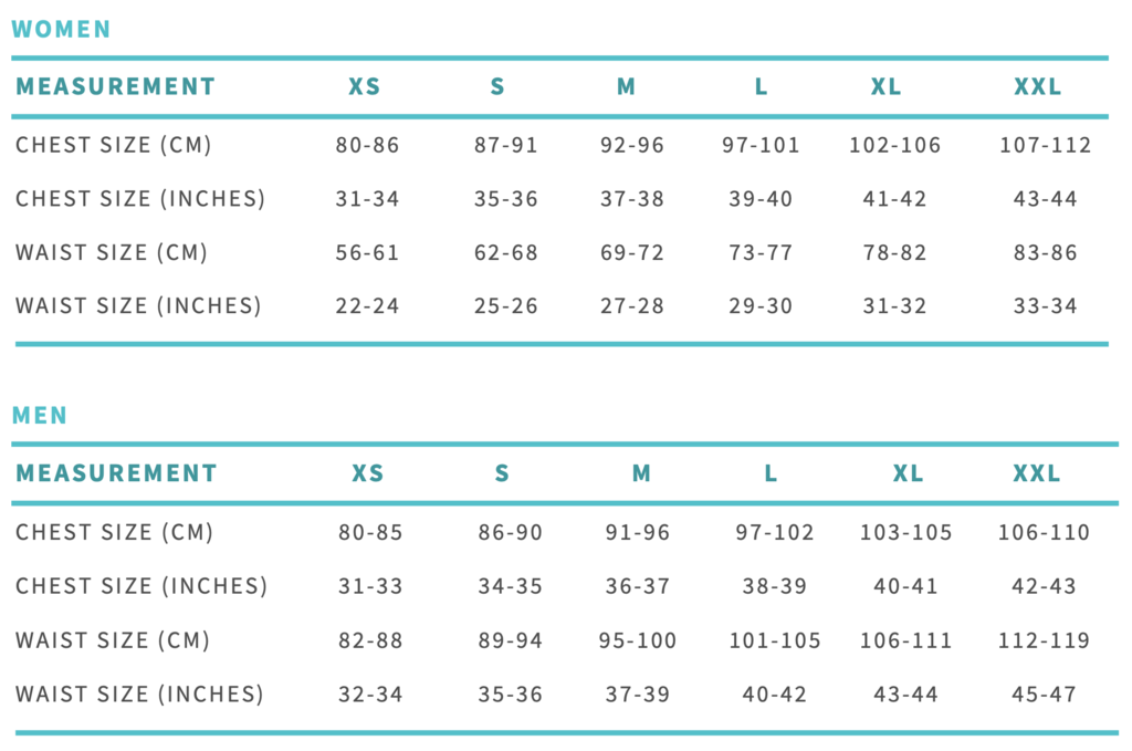 Ohana triathlon Sizing Chart to find your best fit