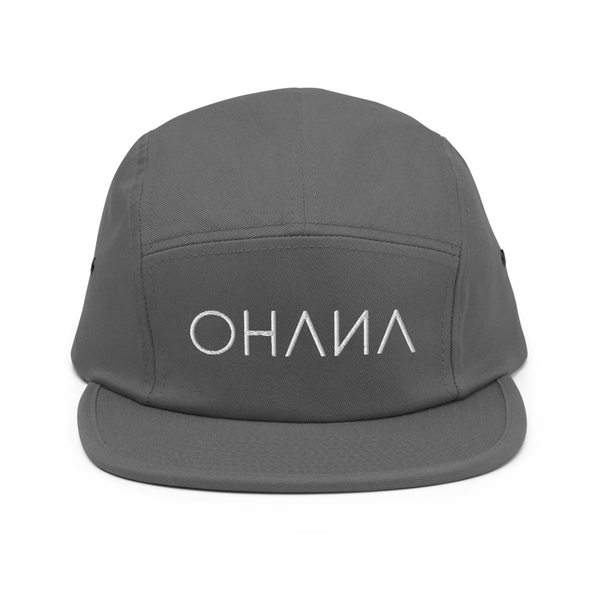 OHANA Triathlon Cap for chill. Five Panel model with OHANA logo on the front. Color grey.