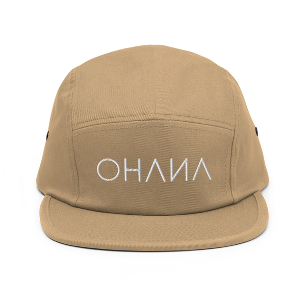 OHANA Triathlon Cap for chill. Five Panel model with OHANA logo on the front. Color beige.