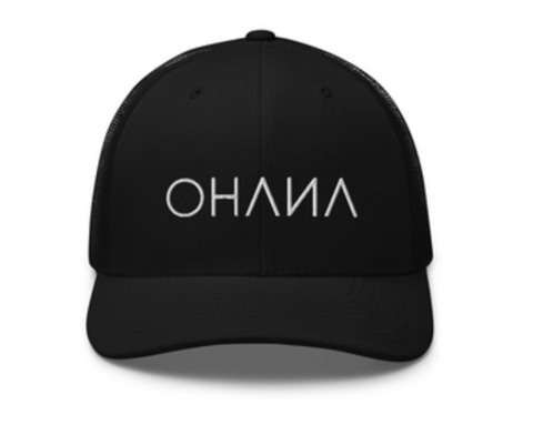 OHANA Triathlon Six Panel Cap for recovery after training or race. Color Black and OHANA logo on it.