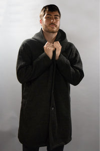 *Men's Charcoal Wool & Fleece Cold Weather Carcoat