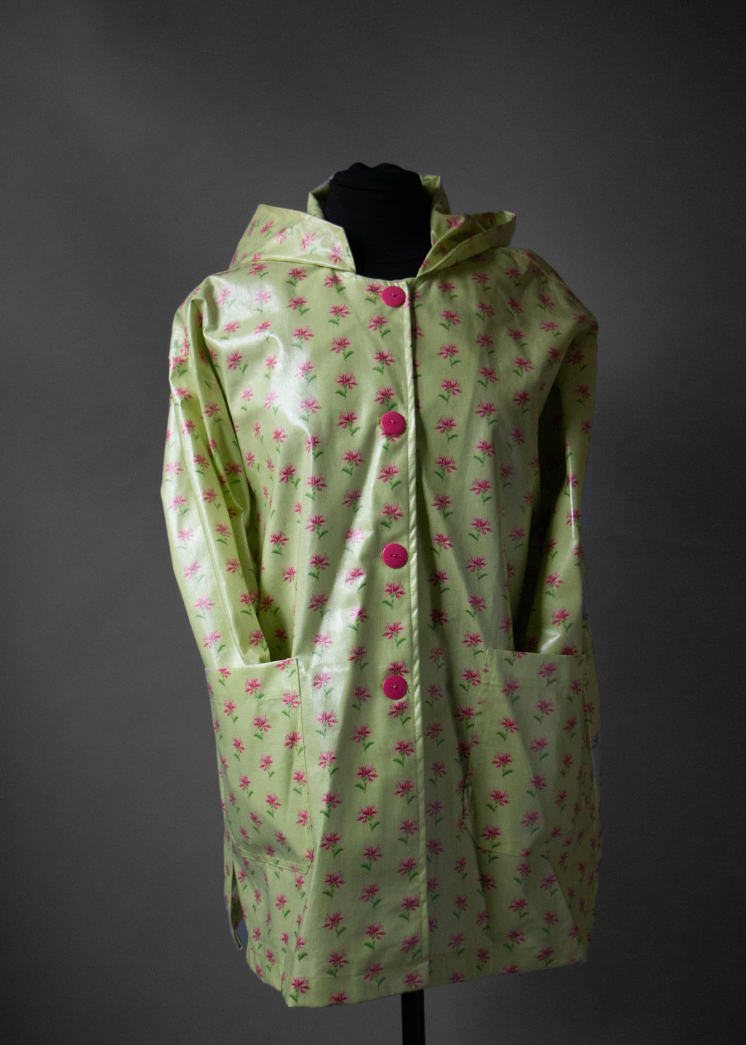*Pink Thistle on Mint Green Button Hoodie