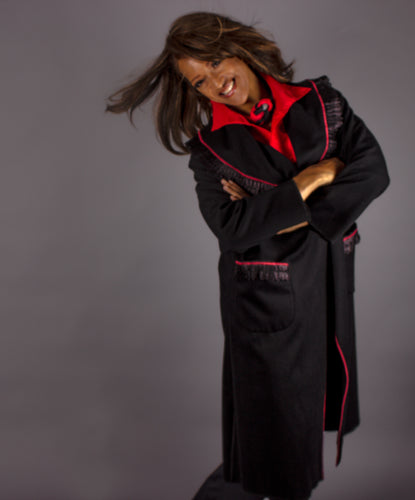 *Black Cashmere Coat with Lace Trim and a Pop of Red