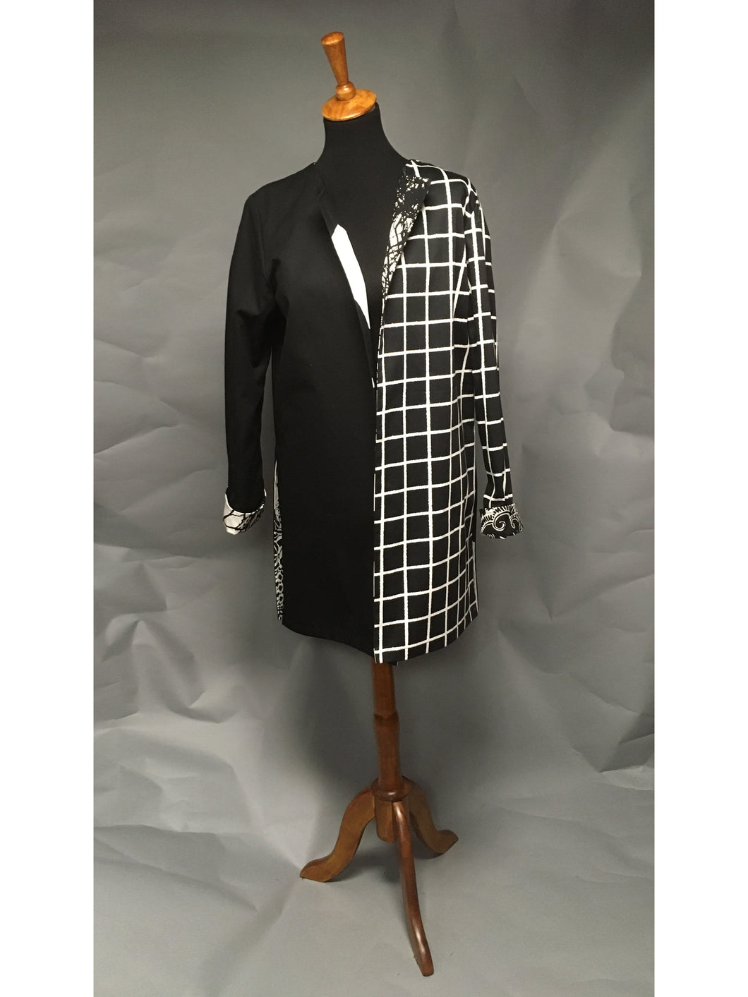 *Pieced Cotton in Black Reversible Coat