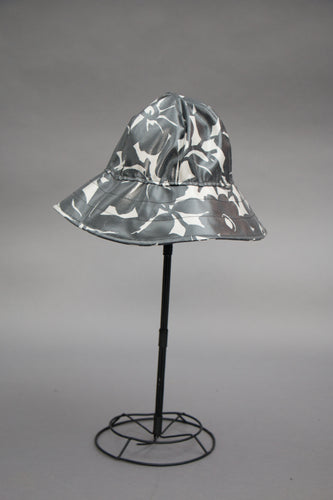 *Black & White Flowers Unlined Rain Hat $45 (RH 0814A)