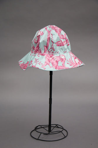 *Blue & Pink Toile Unlined Rain Hat $45 (RH 0913E)