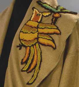 *Camel and Grey Cashmere Coats with Trimmed Crewelwork Applique