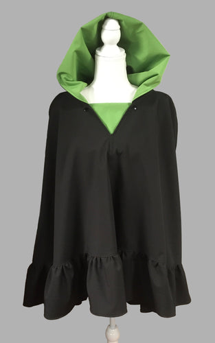 *Apple Green and Black Poncho