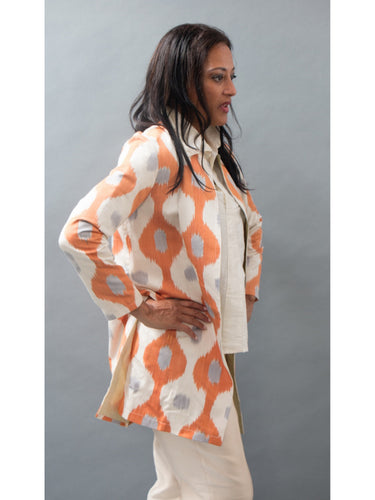 *Reversible Ikat Coat in Apricot and Celery Silk
