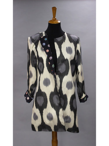 *Reversible Ikat Coat in Black and Deep Grey