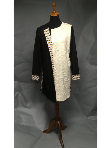 *Vintage Pearl White Crewelwork Pieced Sabrina Coat