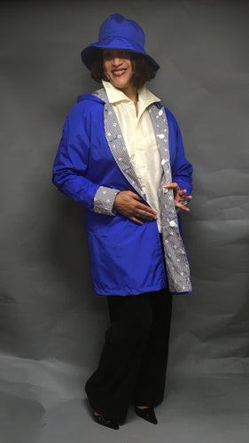 *Women's Royal Blue Outer Reversible Raincoat (RR/C 0614C)
