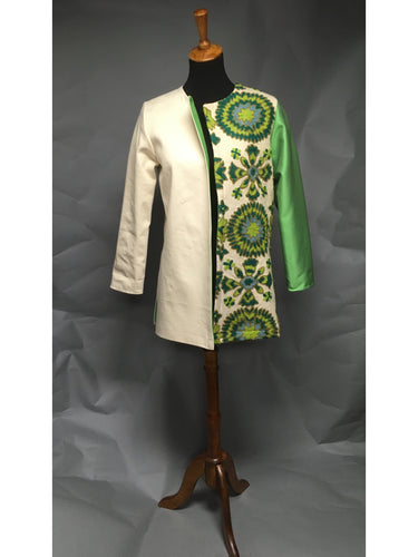 *Silk Lined Cream Twill Coat with Vintage Crewelwork Panel