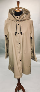 *Women's Khaki Light Fleece Lined Snap Raincoat (SF0919F)