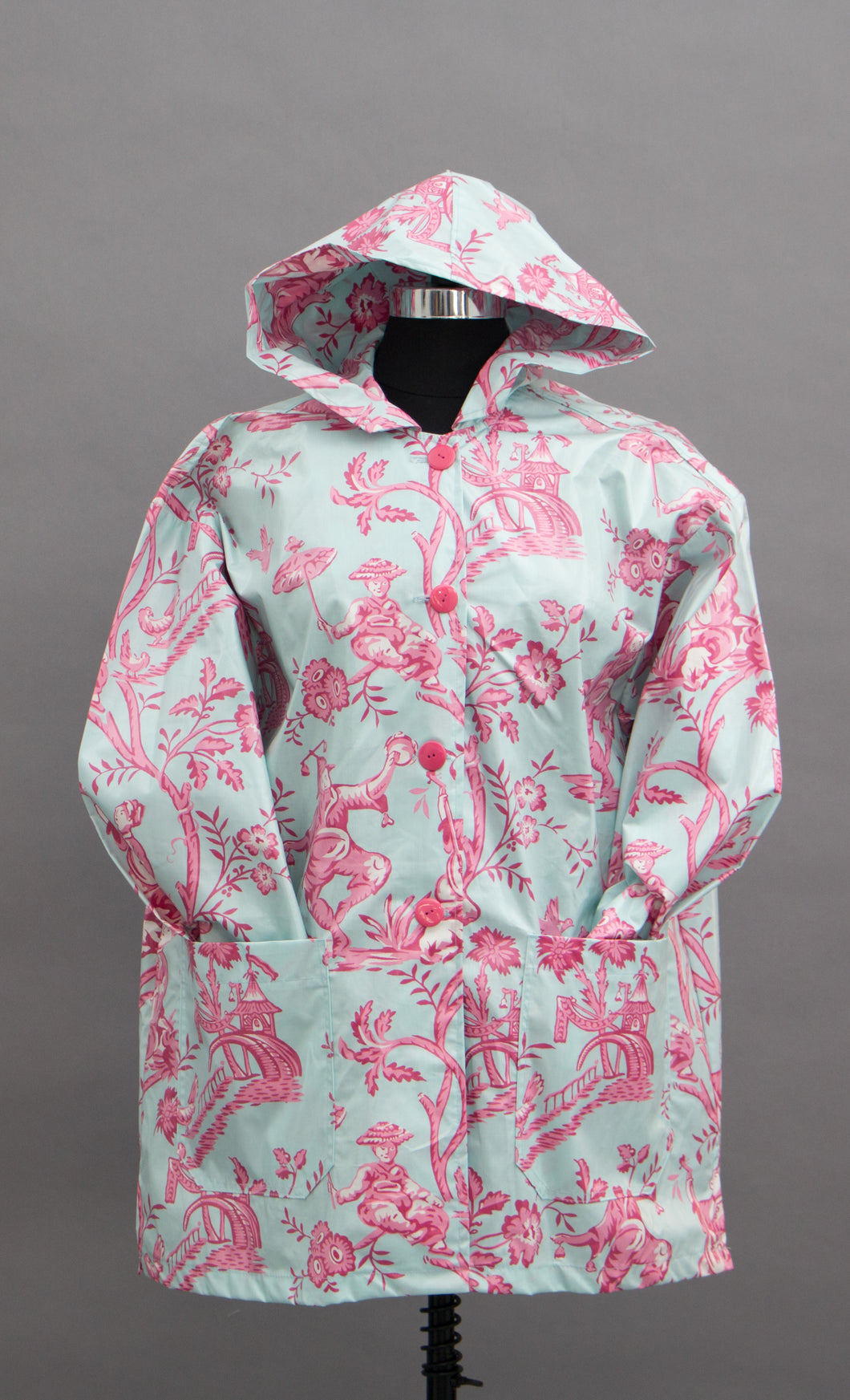*Blue & Pink Toile Button Hoodie (RW 0913E)
