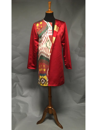 *Pieced Ikat with Red Silk and Plaid Silk Taffeta Coat