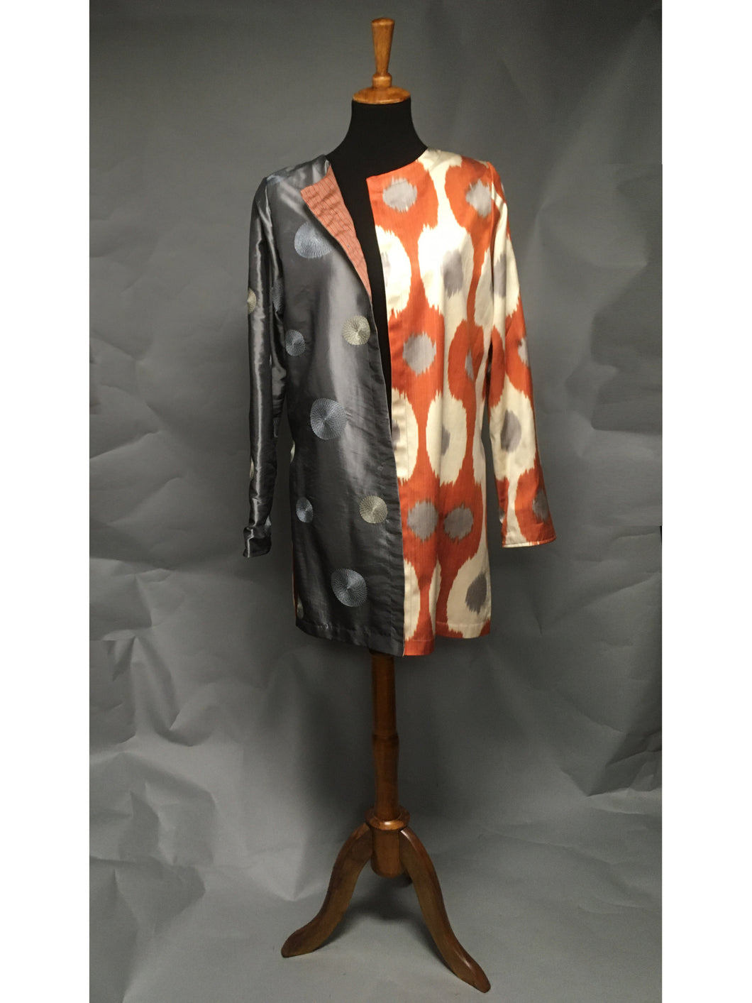 *Apricot and Gray Pieced Ikat Reversible Coat