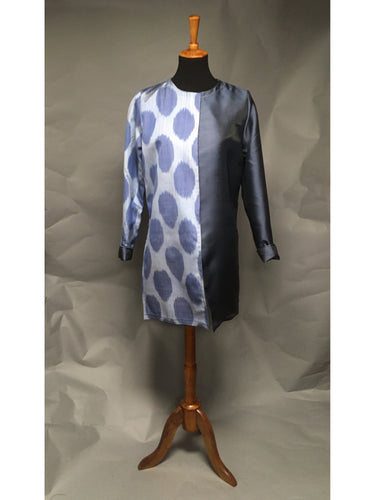 *Pieced Ikat Reversible Coat in Beautiful Blues