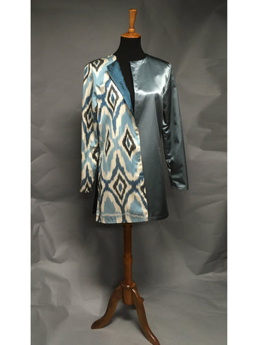 *Reversible Pieced Ikat in Tonal Blues with Alabaster