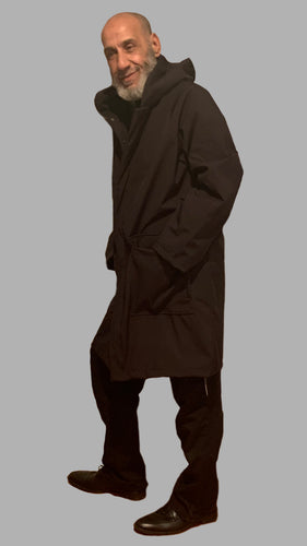 *Men's Black Mesh Lined Snap Raincoat (SM0220A)