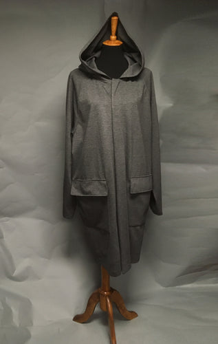*Men's Grey Light Fleece Lined Snap Raincoat (SF0919E)