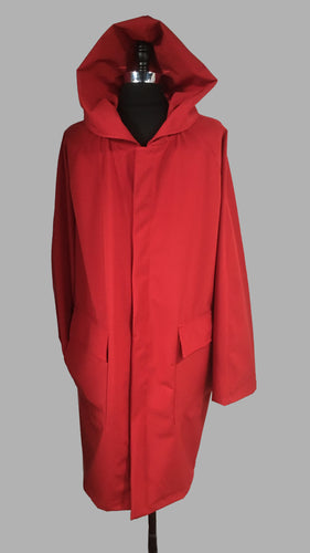 *Men's True Red Mesh Lined Snap Raincoat (SM0919I)