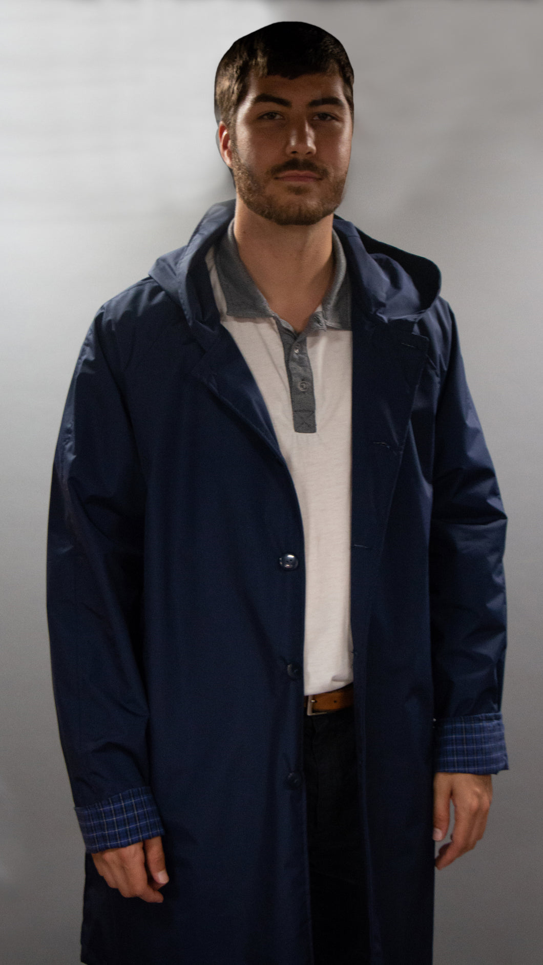 *Men's Deep Navy Outer Lined Raincoat (LR/C 0818A)