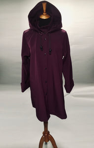 *Women's Purple Mesh Lined Snap Raincoat (SM0220B)