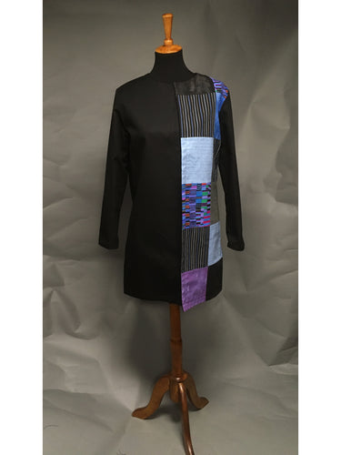 *Pieced Cotton Reversible Coat in Blues and Purples