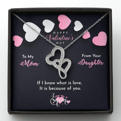Happy valentine's day, Double hearts necklace with a message card