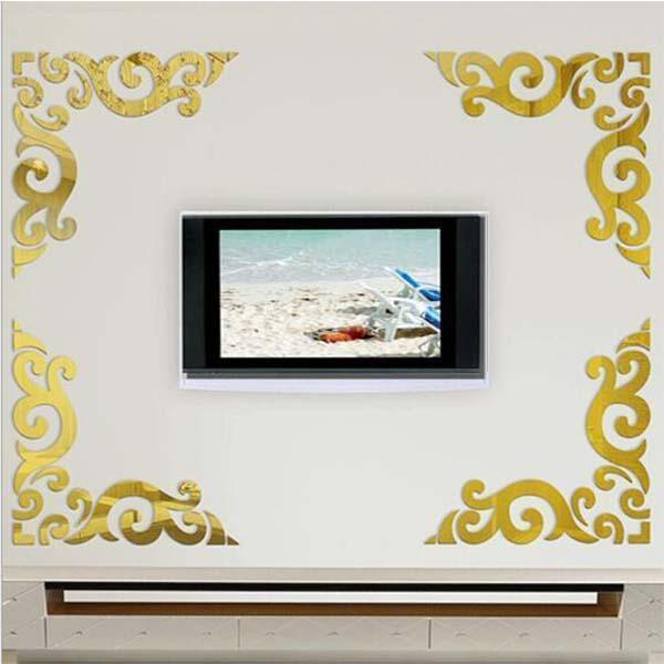 Self-adhesive Diagonal Lace 3D Stereo Mirror Wall Sticker (2PCS)