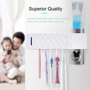 BACTOR™ - 3 IN 1 - ULTRAVIOLET ANTIBACTERIAL TOOTHBRUSH HOLDER & STERILIZER AND TOOTHPASTE DISPENSER
