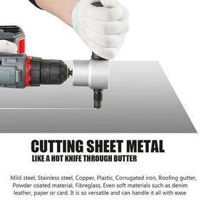 Nibbler Cutter Drill Attachment Double Head Metal Sheet