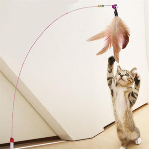 Cat Interactive Toy Stick Feather Wand With Small Bell Mouse Cage