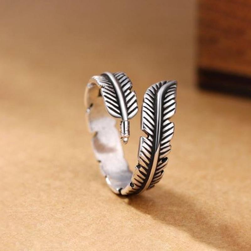 Vintage Feather Open Ring