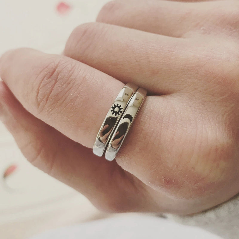 Sun&Moon Sterling Silver Adjustable Couple Ring