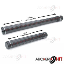 Load image into Gallery viewer, Carry tube shown at both extended lengths from Archery Hit