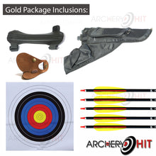 Load image into Gallery viewer, Inclusions of the Wooden Recurve bow gold package from Archery Hit