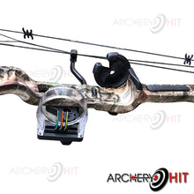 Load image into Gallery viewer, Close up image of pin sight and arrow rest installed on Rex Compound Bow from Archery Hit