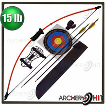 Load image into Gallery viewer, 44 inch fibreglass longbow set from Archery Hit