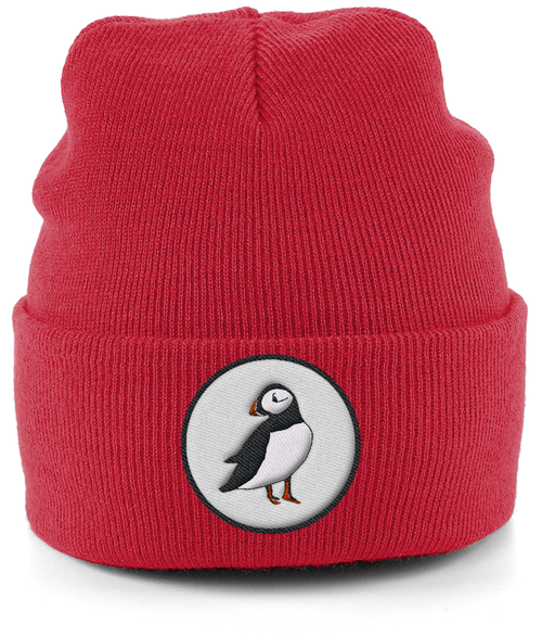 Puffin Embroidered Beanie in Red