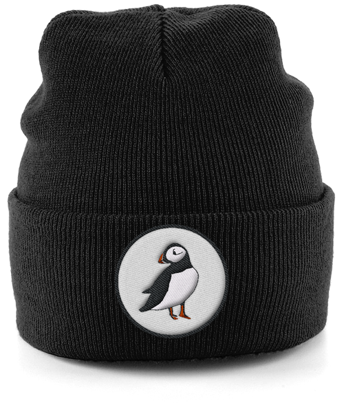 Puffin Embroidered Beanie in Black