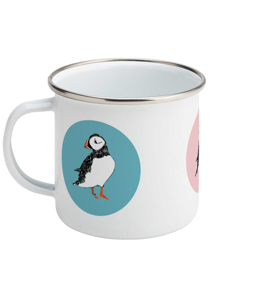 Enamel Mug with Puffin Design