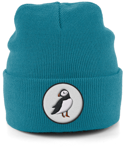 Puffin Embroidered Beanie in Blue